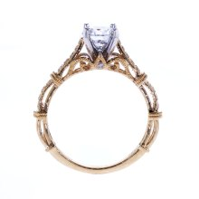 Two Tone Openwork Cathedral Engagement Ring