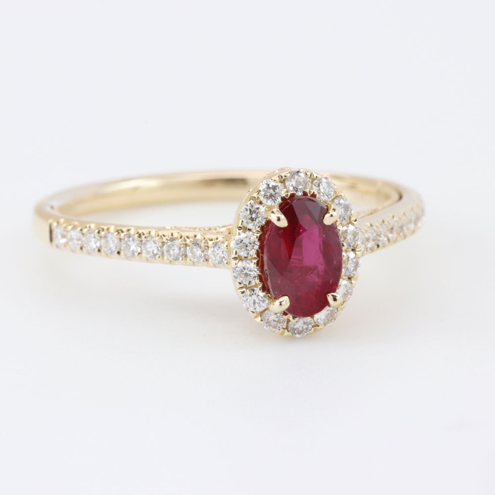 Pop Perfect Ring Diamontrigue Jewelry: Open Filigree Ruby Engagement Ring, 14K Yellow Gold