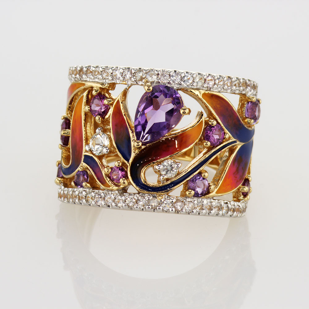 Pop Perfect Ring Diamontrigue Jewelry: Art Nouveau Inspired Gemstone And Enamel Ring, 14k Yellow