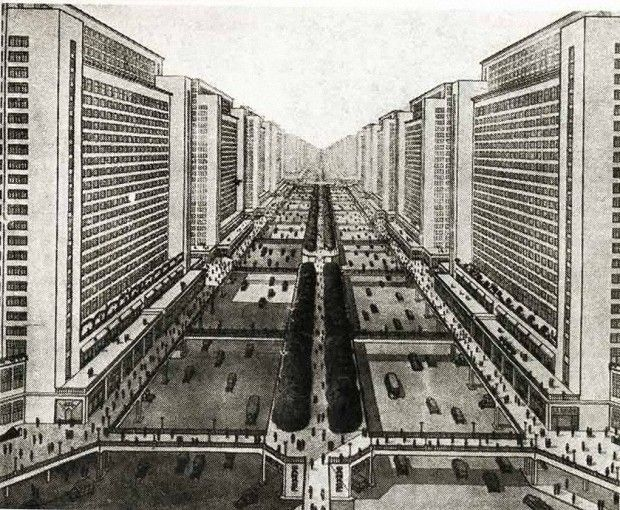 A street surrounded by skyscrapers, the vision of Le Corbusier.