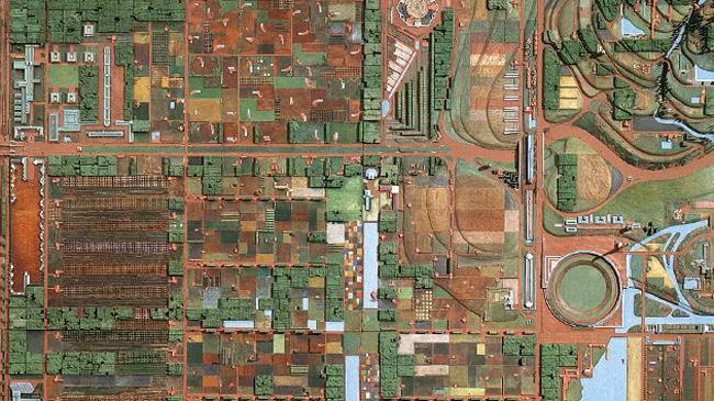 A model of Broadacre, which involves large lots and low population densities