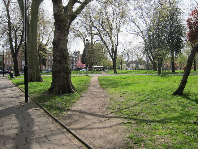 A desire path in Tottenham, England.