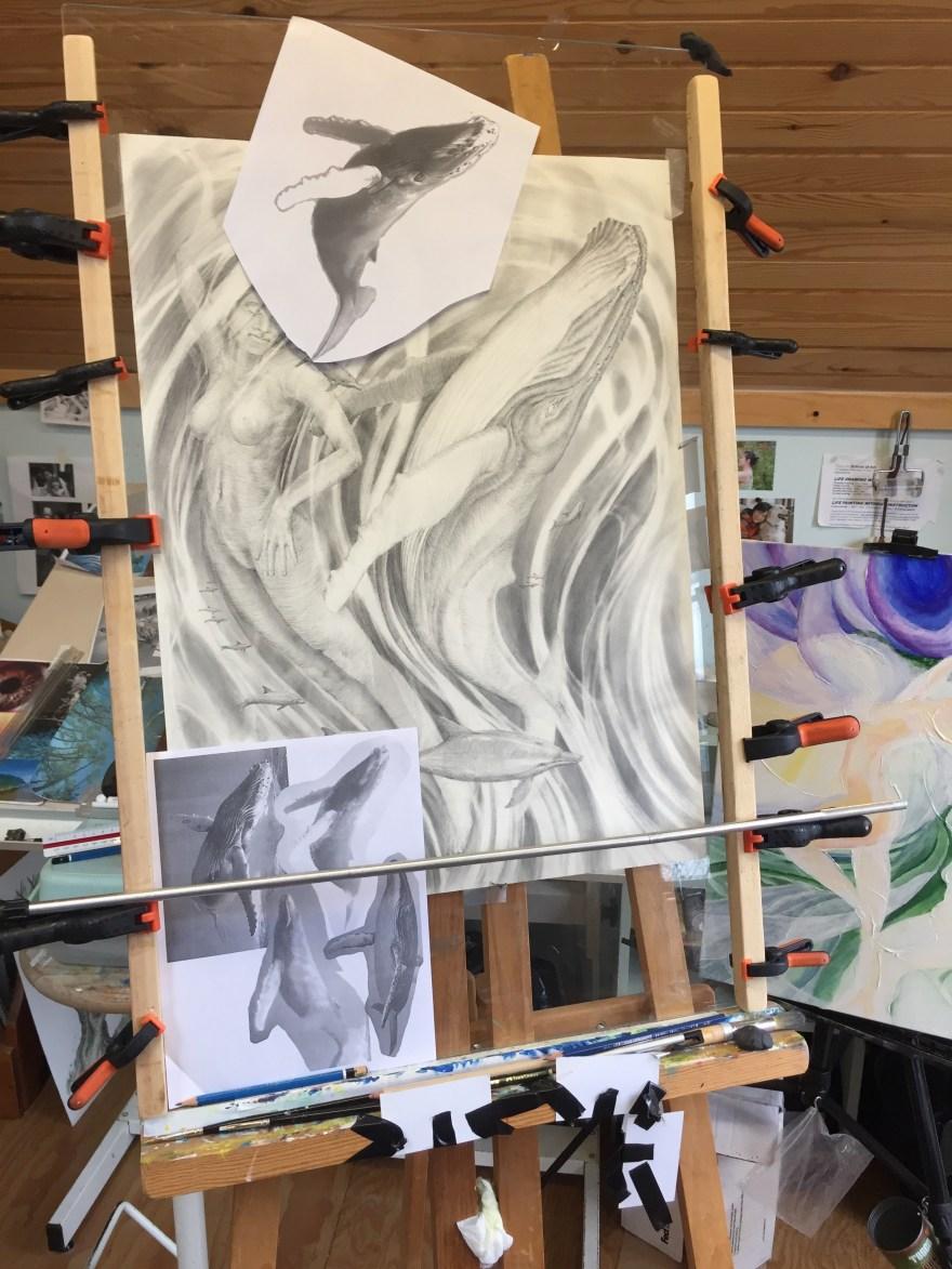 w i p whale dream drawing mark johnson fine art