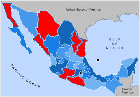 Hot zones in Mexico's drug war. (Wikimedia commons.)