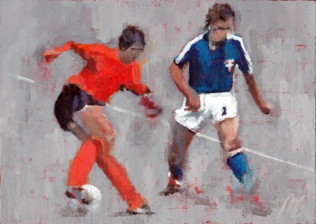 The Cruyff Turn - An acrylic painting by Mark Gisbourne