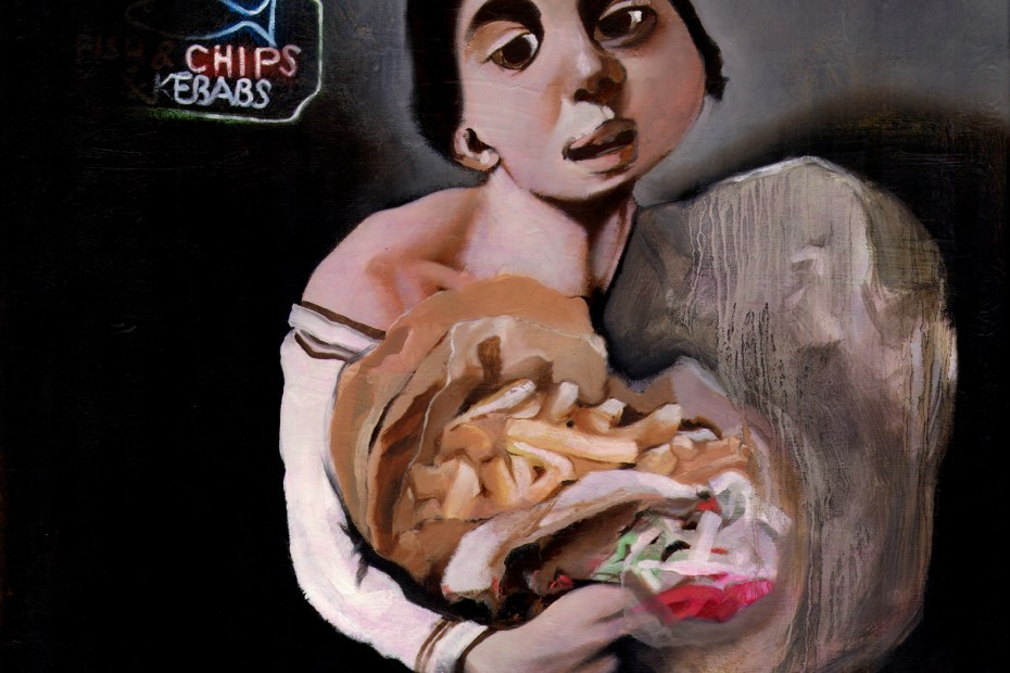 painting Boy with Kebab Meat and Chips Mark Gisbourne artist