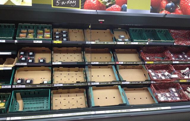 Empty shelves in Tesco