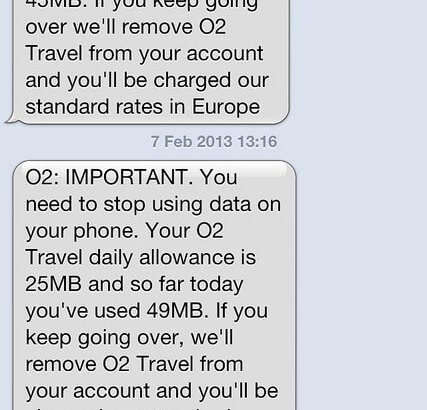 An SMS from O2