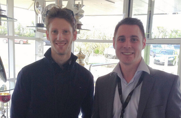 Romain Grosjean at the Lotus Factory