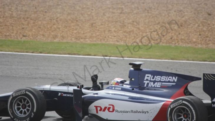 Mitch Evans celebrates winning the GP2 race at Silverstone 2014