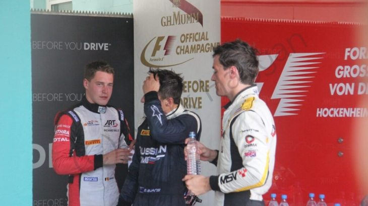 The GP2 drivers prepare for the podium after the feature race at Hockenheim 2014