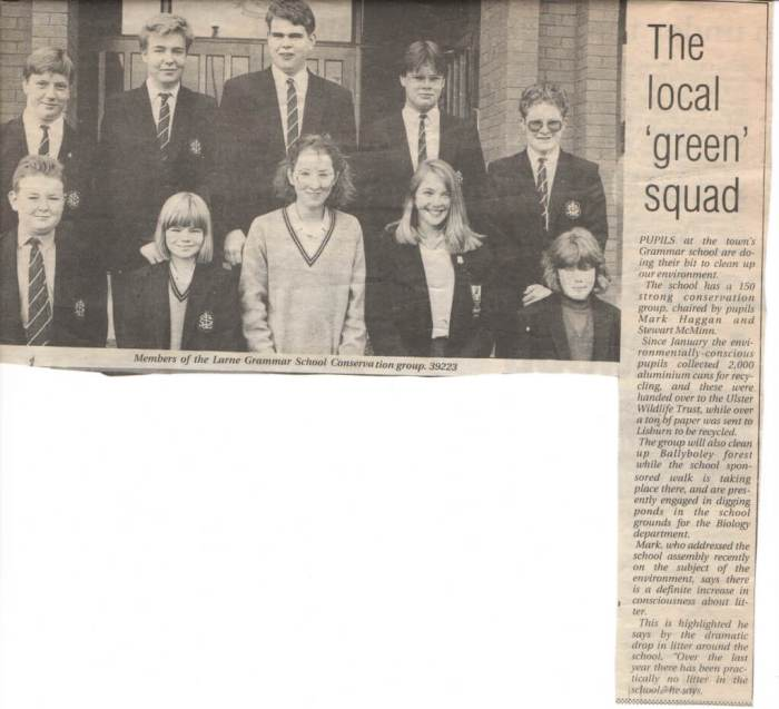 Newspaper report on Larne Grammar School Conservation and Environmental Group