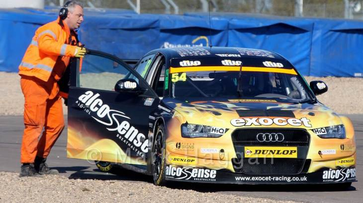 Hunter Abbott stops during the BTCC weekend at Donington Park