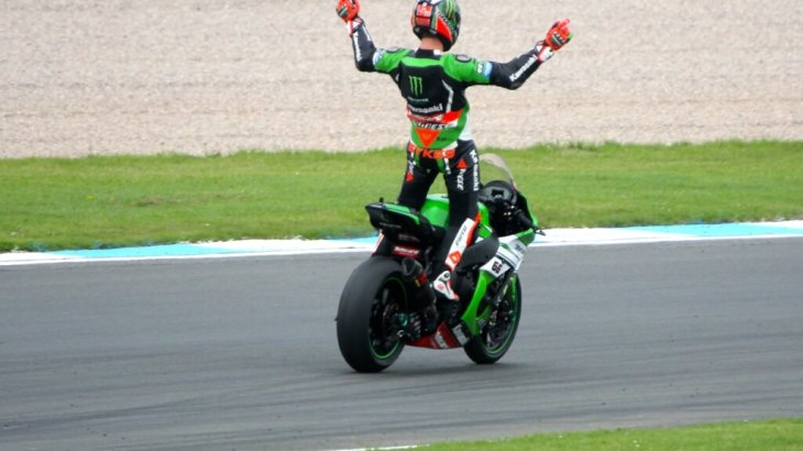 Tom Sykes celebrates at Donington