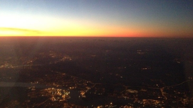 Sunrise on the way to Heathrow