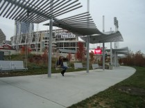 These are cool swings next to the Ohio River and the ballpark.