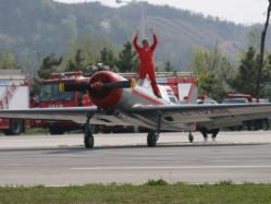 The Global Stars YAK 50 aerobatic formation team displayed in Ansan, Korea