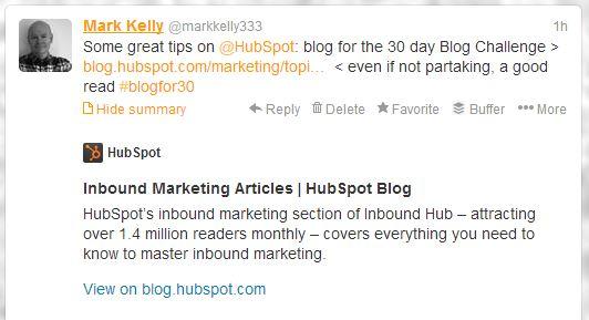 Hubspot 30day blogging challenge tweet