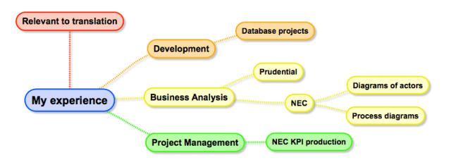 Experience in development, business analysis and project management relevant to technical translation