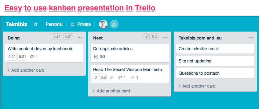 easy-to-use kanban presentation in Trello