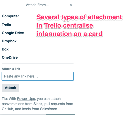 several types of attachment in Trello centralise information on a card
