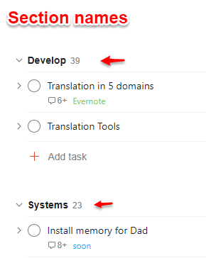 Add section names in Todoist