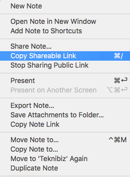 copy a shareable link from Evernote to share it anywhere