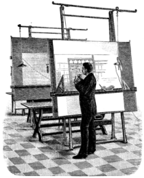 Architect at his drawing board. This wood engr...