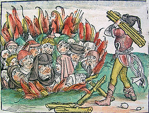 Jews are burned alive during the Black Death.