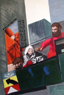 """Del Sarto on Times Square"" Acrylic on canvas 30""x20"" (2006)"