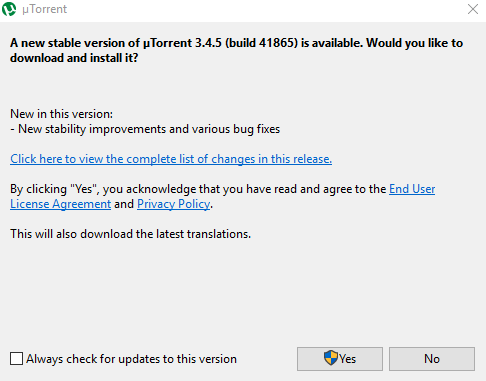 uTorrent Update Screen