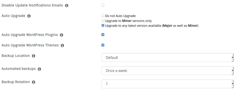 Choose to auto upgrade and auto backup