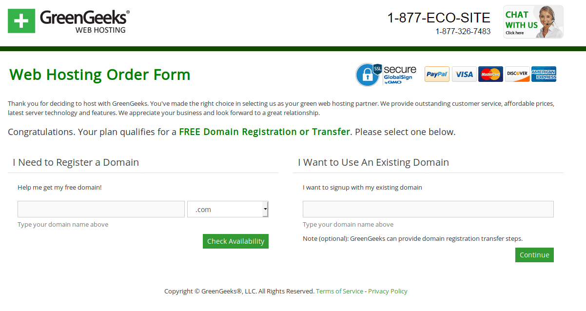 Green hosting order form
