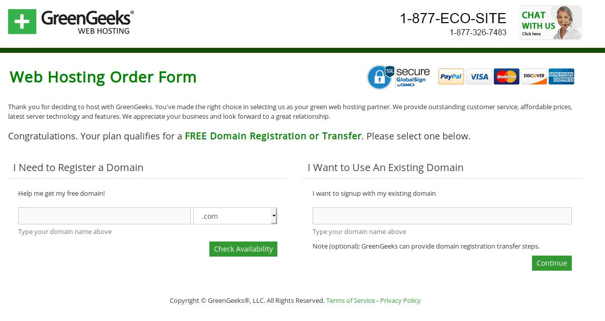 Green hosting order form