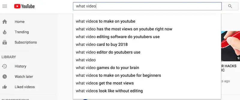 Use YouTube search suggest for interesting topic ideas