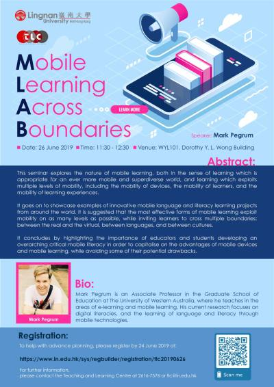 Poster for Mobile Learning Across Boundaries Seminar at Lingnan University, Hong Kong