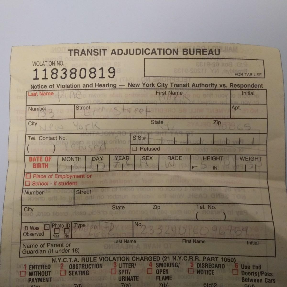NYC Transit Ticket