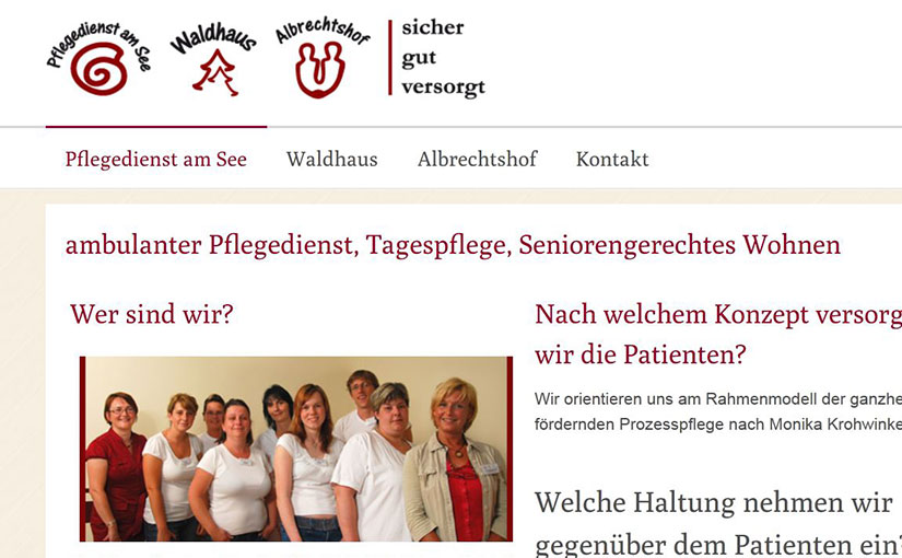 die Webpräsentation des Pflegedienstes aus Potsdam