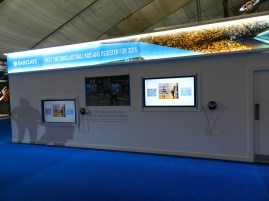Barclays ATP Exhibition Stand design - touch info screens and graphics