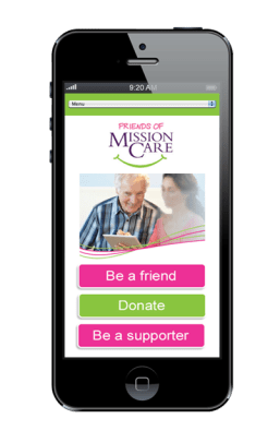 Friends of Mission Care Website design on iphone