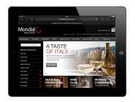 Mondial Wines Direct Website design on ipad