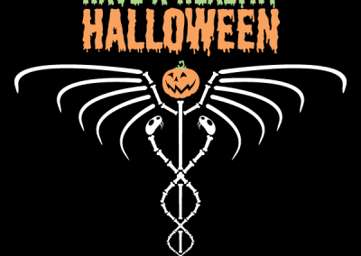 Skeleton & Jack-O'-Lantern Caduceus Tee Shirt Design