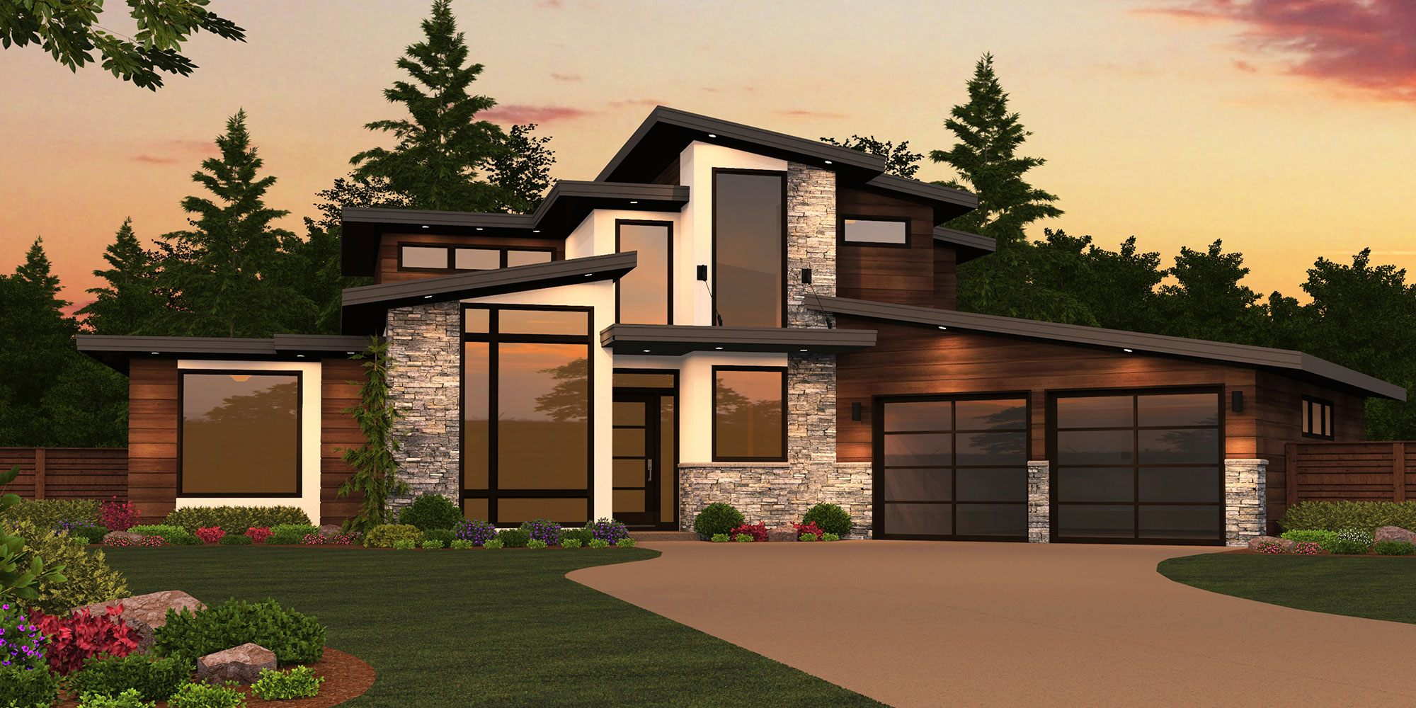 Modern House Plans   Home Designs  Shop Floor Plans with Photos Sting X 16A
