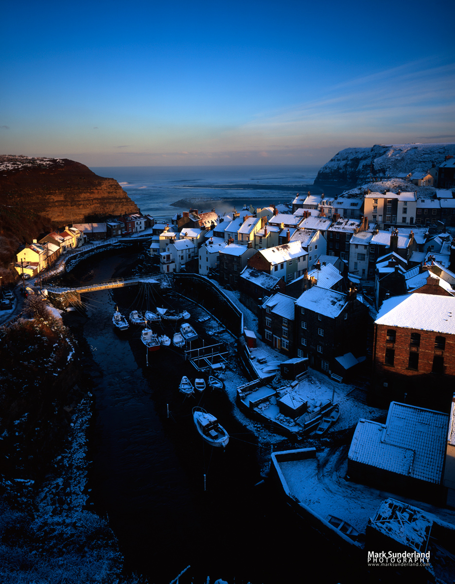 Snow Covered Rooftops at Staithes on the Yorkshire Coast