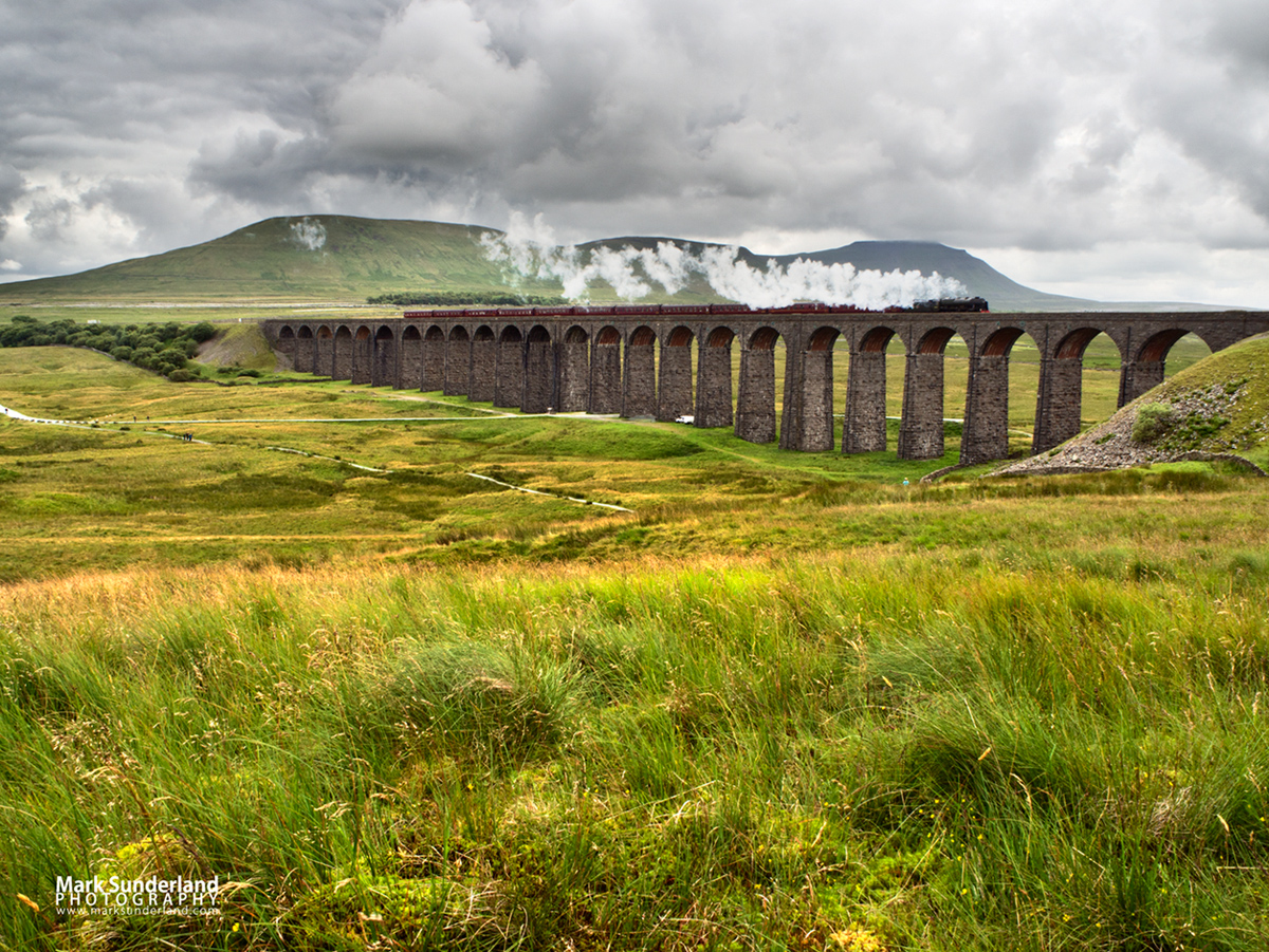 Steam Train Crossing the Ribblehead Viaduct in the Yorkshire Dales