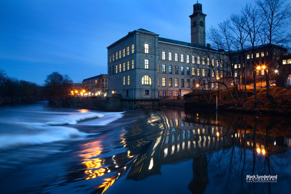 New Mill by the River Aire at dusk, Saltaire, West Yorkshire
