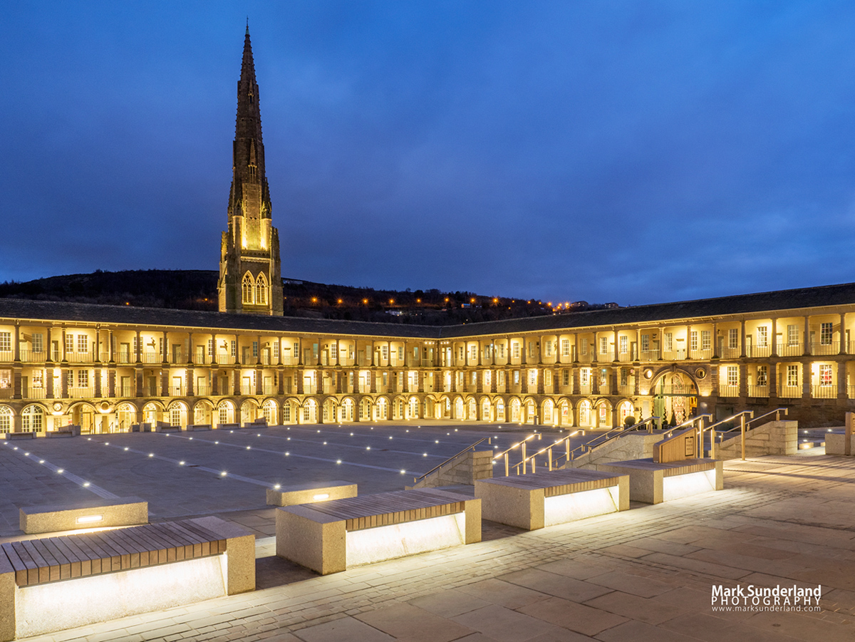 The Piece Hall at dusk, Halifax, West Yorkshire