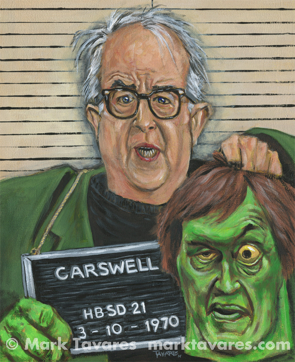 """Mugshot of Mr. Carswell, a.k.a. the Creeper"" 11 x 14. Acrylic on Masonite. © Mark Tavares"