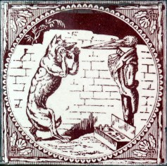 "The story shown on this tile has not been satisfactorily identified. It may depict the story of The Fox and the Stork (Perry Index 426); it may also depict Silas Weir Mitchell's ""The Wolf that wanted a Doctor,"" which is not one of Aesop's Fables."