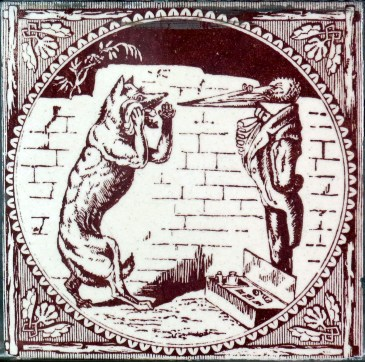 """The story shown on this tile has not been satisfactorily identified. It may depict the story of The Fox and the Stork (Perry Index 426); it may also depict Silas Weir Mitchell's """"The Wolf that wanted a Doctor,"""" which is not one of Aesop's Fables."""